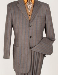 Brown Striped Suit