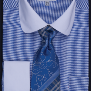 Mens Blue Houndstooth Dress shirt