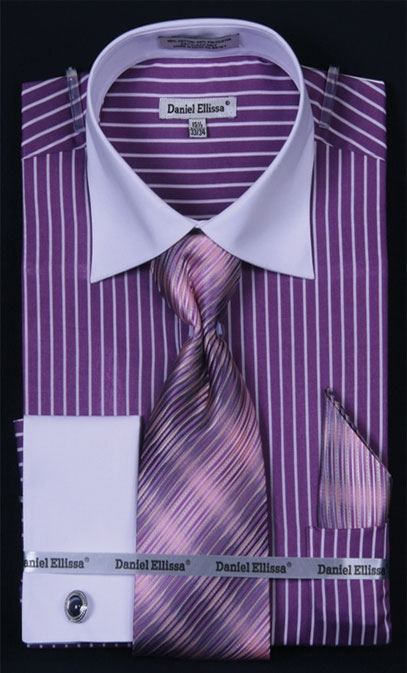 Purple French Cuff Shirt With