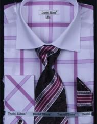 Mens Lilac Checkered French Cuff Dress Shirt