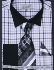 Mens Black plaid french cuff shirt