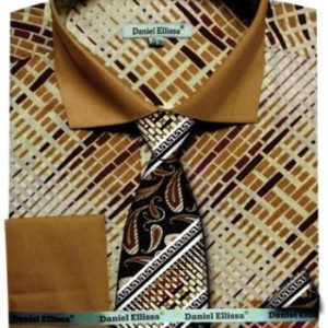 Mens Beige two tone dress shirt