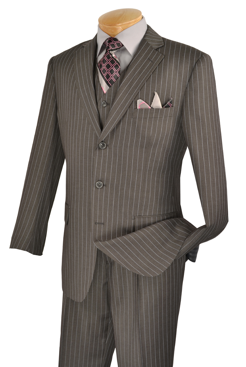 s Style Mens Suits. s Men's Suit Fashion. Men's suits in the s were wide, wide, wide. Broad shoulders, long jacket, wide lapels, and pinched in waist gave the silhouette of superman. Stripes were in as well as plaids, windowpane, tweed,and herringbone in all colors. Mens Brown With Cream Pinstripe Vested 3 Piece three piece.