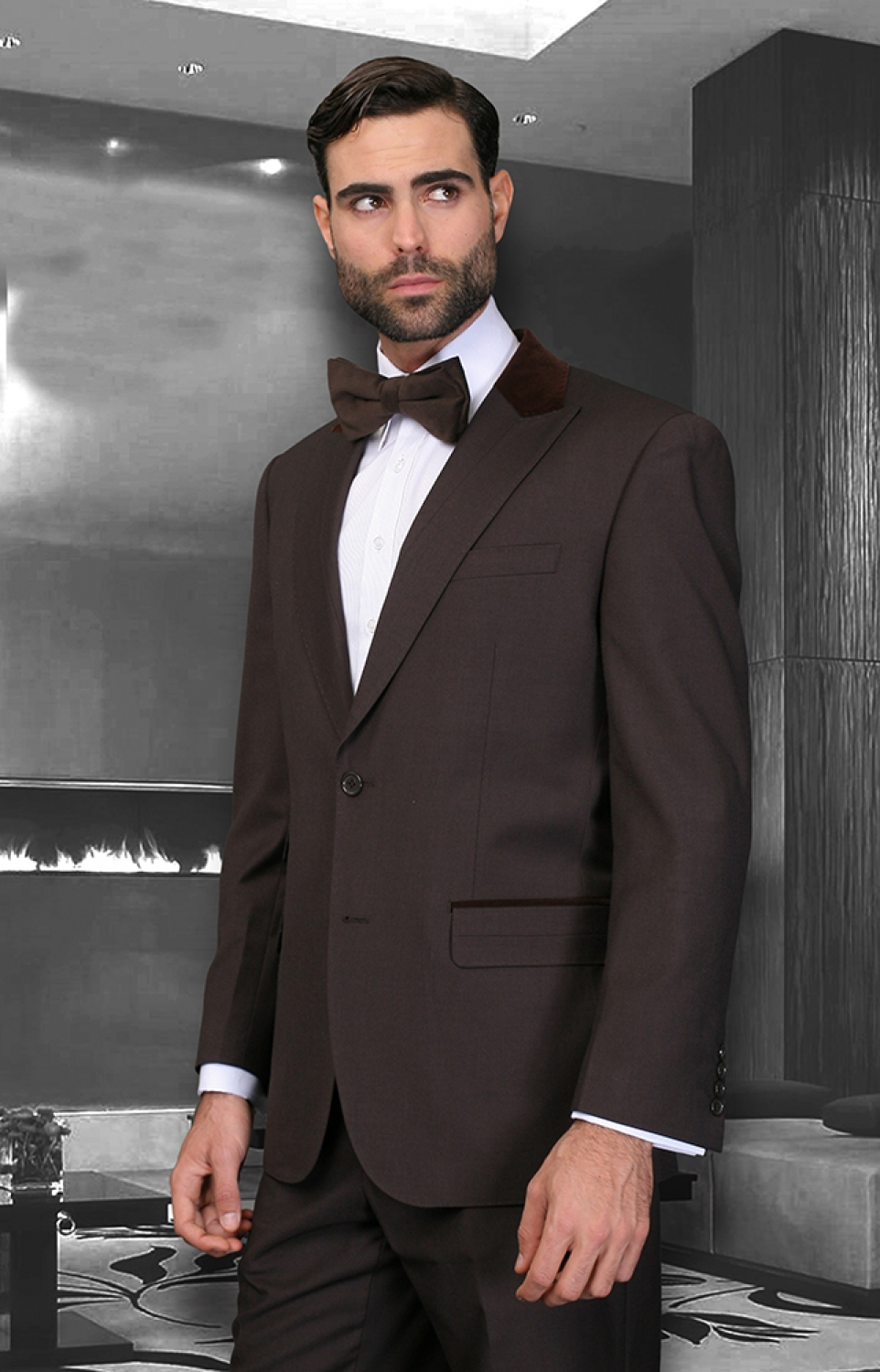 Mens Chocolate Brown suit modern fit