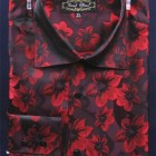 Burgundy floral print mens shirt