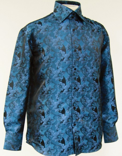 Mens floral dress shirts in teal for Teal mens dress shirt