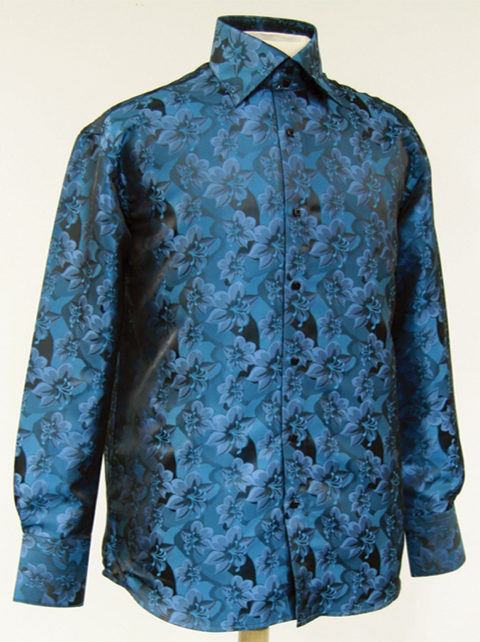 Mens floral dress shirts in teal