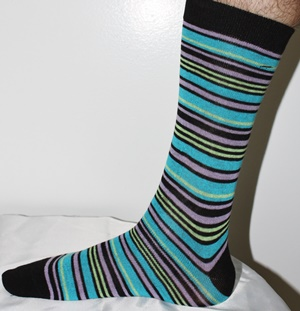 Turquoise and black striped socks