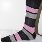 Black and pink stripe pattern socks