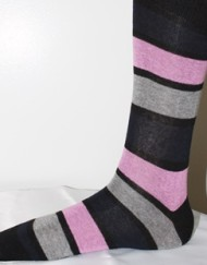 Black and pink stripe pattern socks