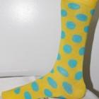 Yellow and green polka dot socks