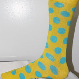 Yellow and green polka dot socks