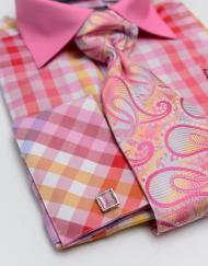 fuchsia gingham dress shirt