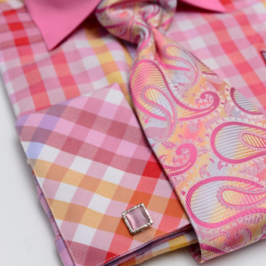 fuchsia gingham dress shirt