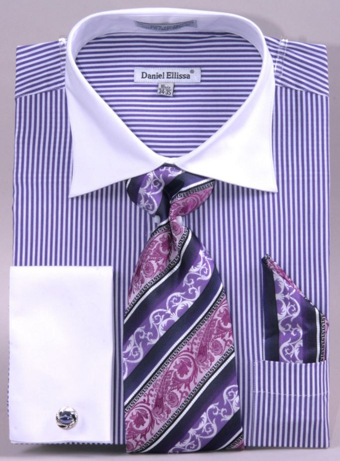 Purple French Cuff Shirt With Stripes