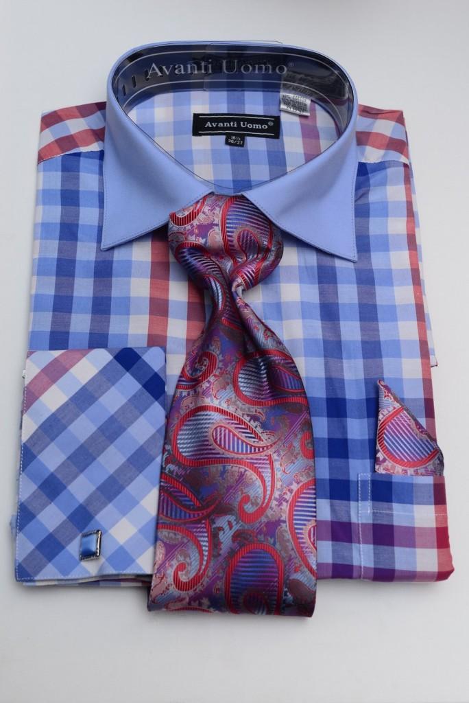 blue block check shirt