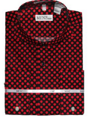 black and red polka shirt