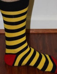 Yellow and blue stripe mens dress socks