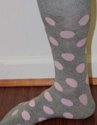 Gray and pink polka dot dress socks