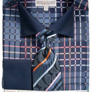 Mens Blue two tone dress shirt