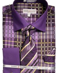 Mens Purple pattern Dress Shirt