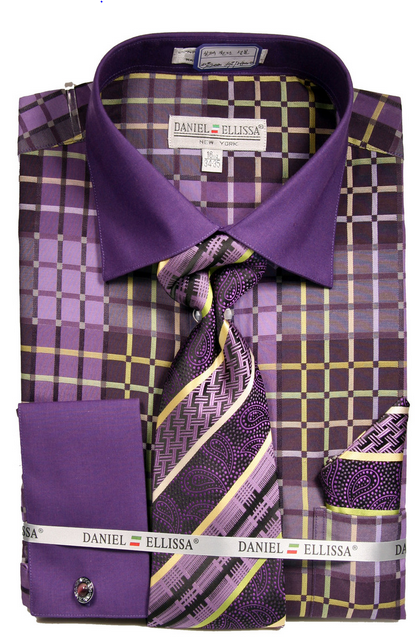 Mens Purple pattern Dress Shirt