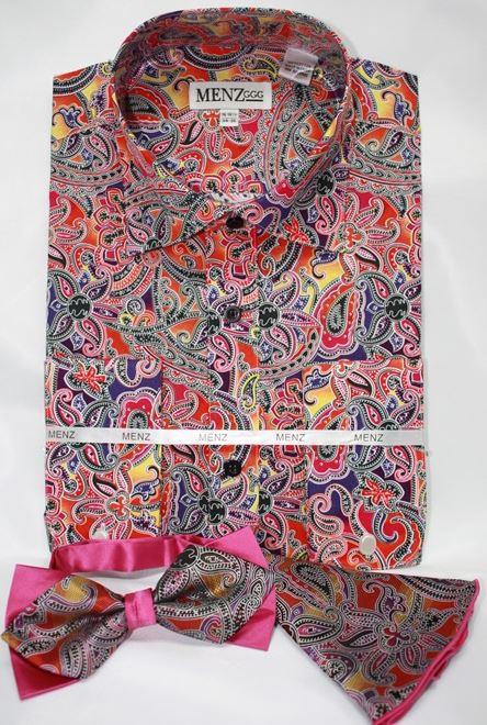 mens pink paisley dress shirt