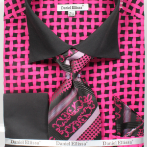 mens black and fuchsia patterned shirts