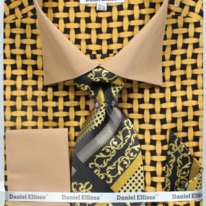 Mens mustard printed shirt