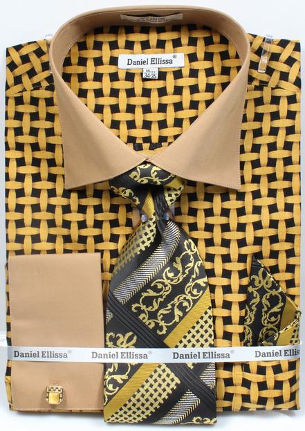 Mens mustard printed shirt