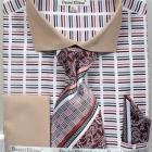 Mens beige horizontal striped shirt
