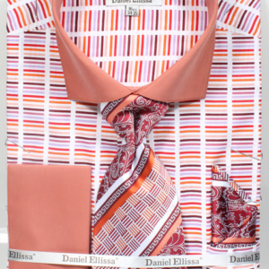 Mens rust horizontal striped shirt