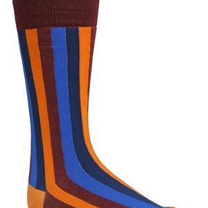 Mens maroon multi striped socks