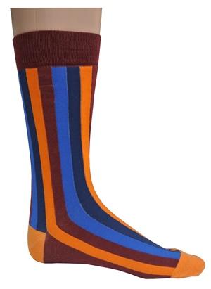 Mens maroon multi striped socks