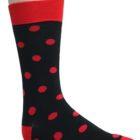 Mens Black red polka dots socks