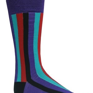 mens purple multi striped socks