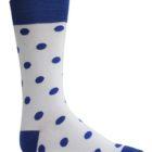 White and Blue polka dot dress socks